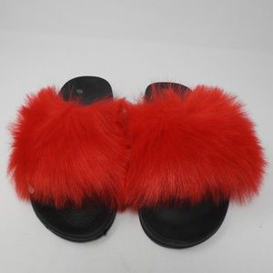 Shoes - Red Fur Slip On